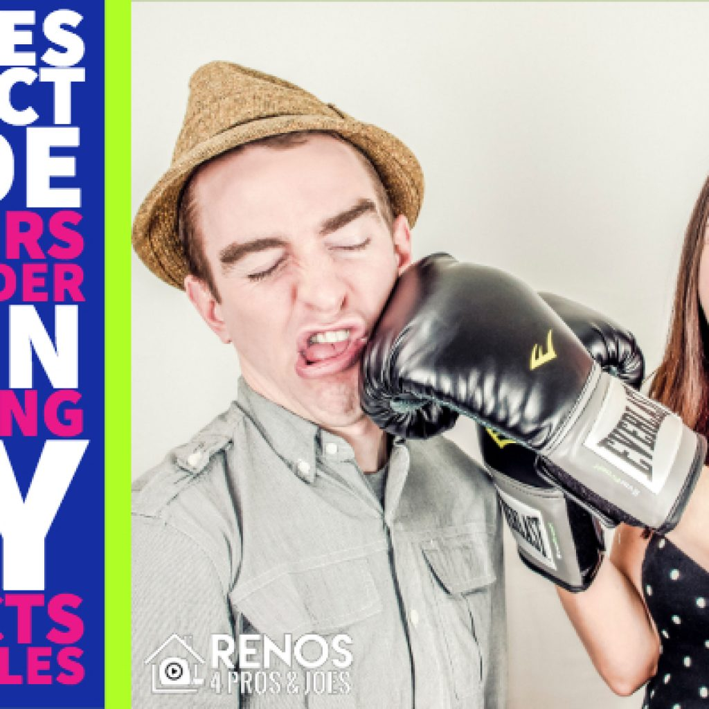 woman punching man with boxing gloves humor
