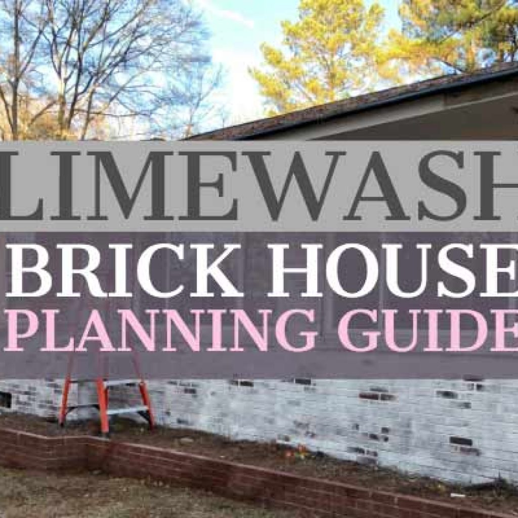 brick home partially painted with limewash