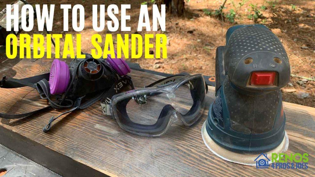 orbital sander with safety gear